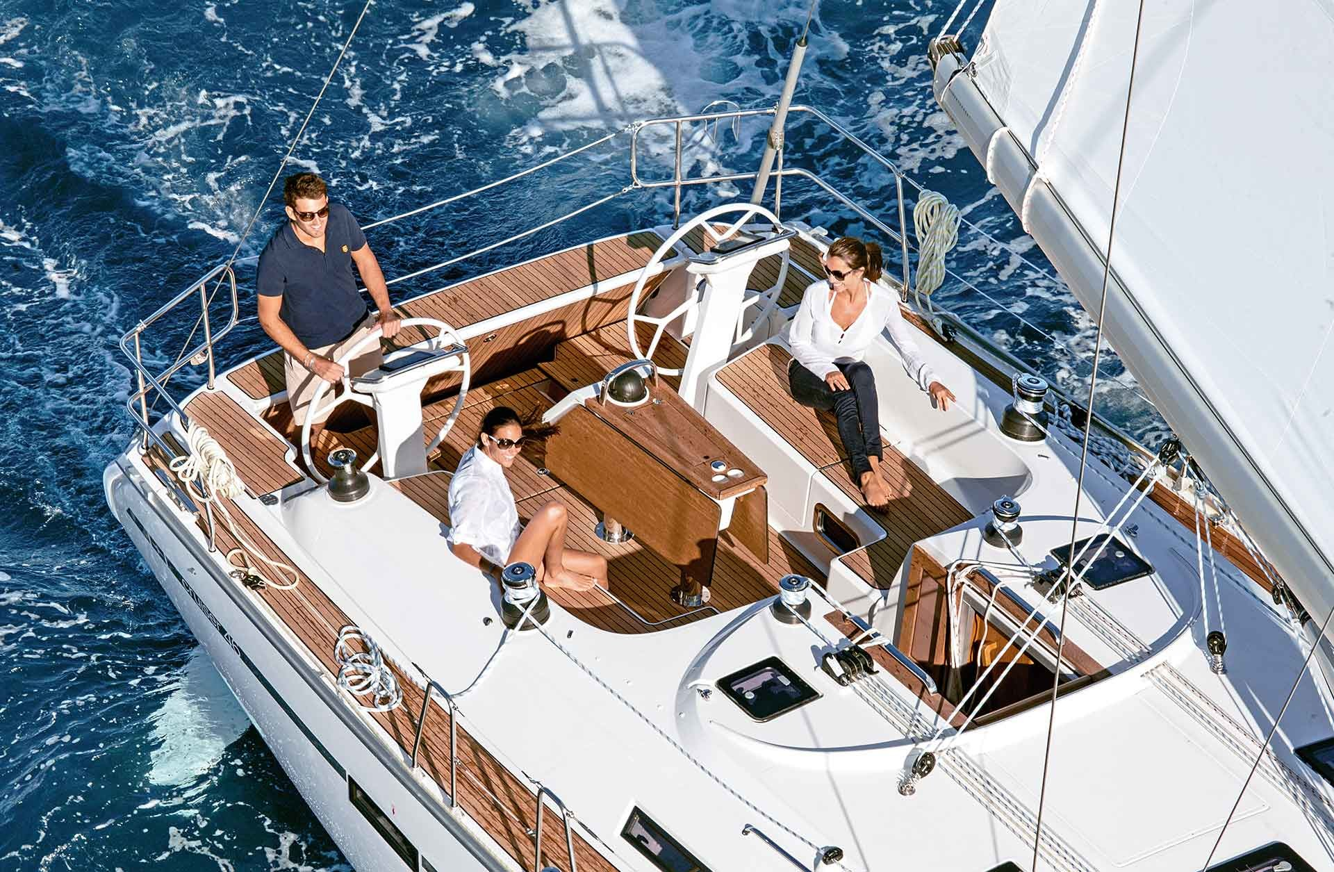 Sailing yachts offer a lot of space and the unique opportuinity to hoist the sails. Also the price for a sailing yacht is lower compared to a motor boat of the same size.